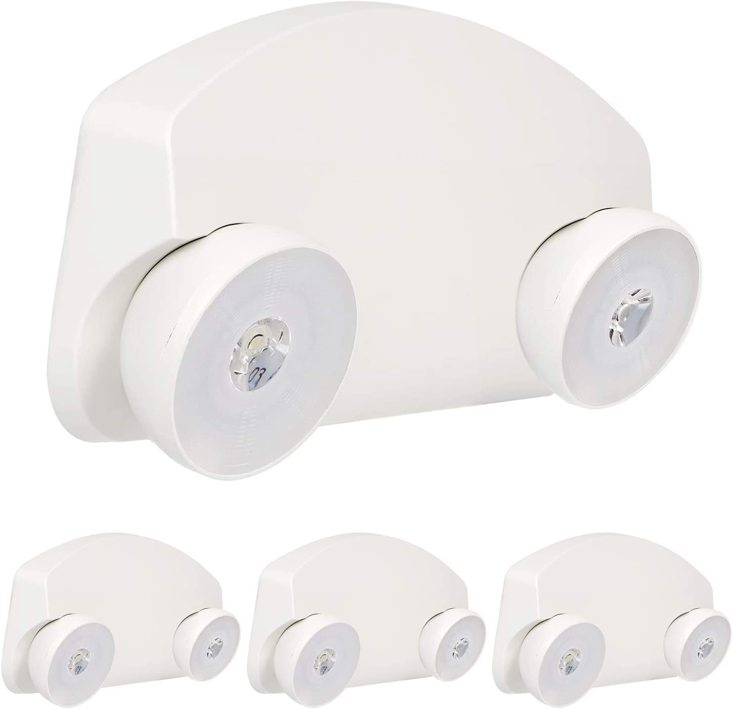 LED Emergency Lights with Battery Backup, 120-277V AC, Low Profile, Adjustable Two Head - 4 Pack