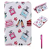 Tab 4 7.0 Case, Firefish Damage Resistance Case Premium PU Leather Wallet Card Slots Kickstand Feature Case for Samsung Galaxy Tab 4 7.0 T230 - Bottles
