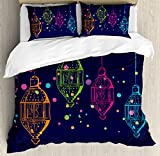 Lantern Queen Size Duvet Cover Set by Ambesonne, Candles in Night Sketch in Various Colors with Dots Arabian Motifs, Decorative 3 Piece Bedding Set with 2 Pillow Shams, Dark Purple Multicolor