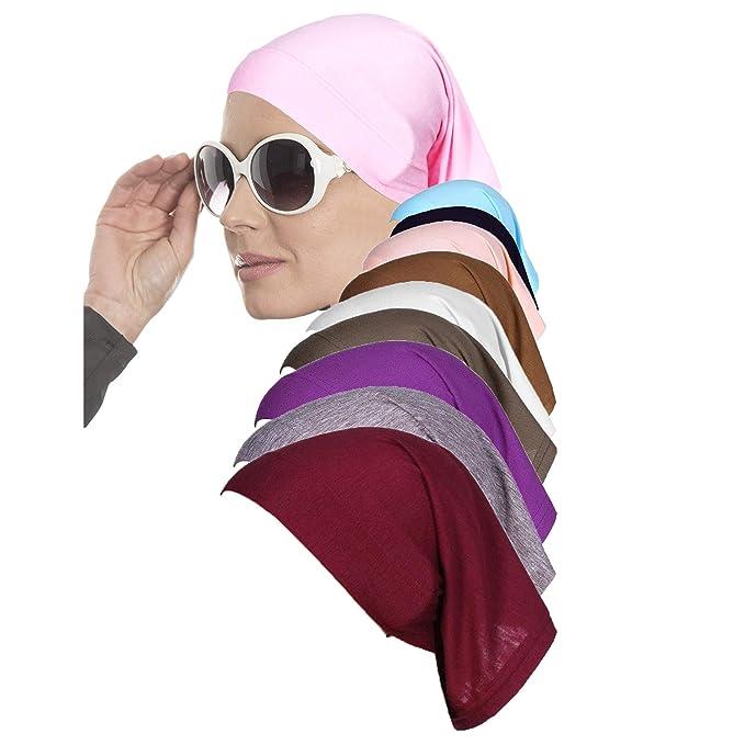 Gorro de Ropa Interior de Hijab 10 Piezas para Mujeres Musulmanas con algodón elástico - en Chemo - Debajo del pañuelo para pañuelo y Tocado islámico: ...