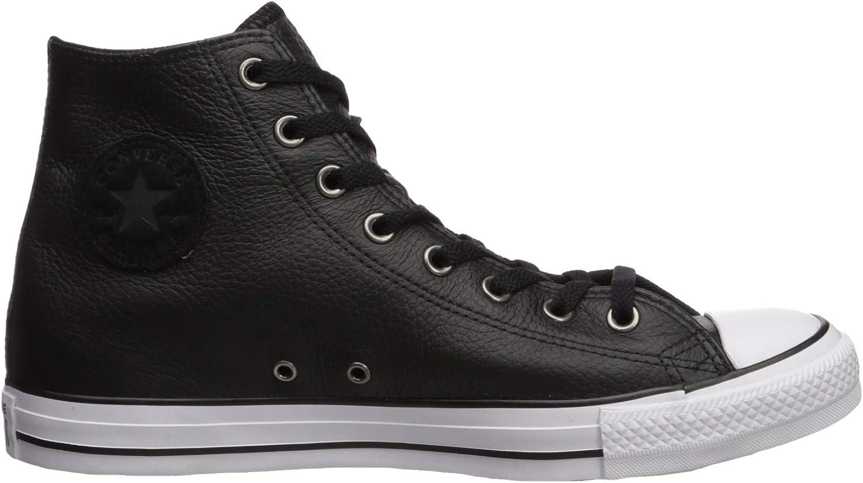 Converse Chuck Taylor All Star Leather Hi Baskets Mode Hommes Noir Baskets Montantes Noir et Blanc et Noir