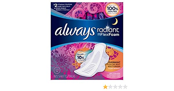 Amazon.com: Always Radiant Overnight with Wings Pads, Scented, 12 Count (Pack of 2): Health & Personal Care