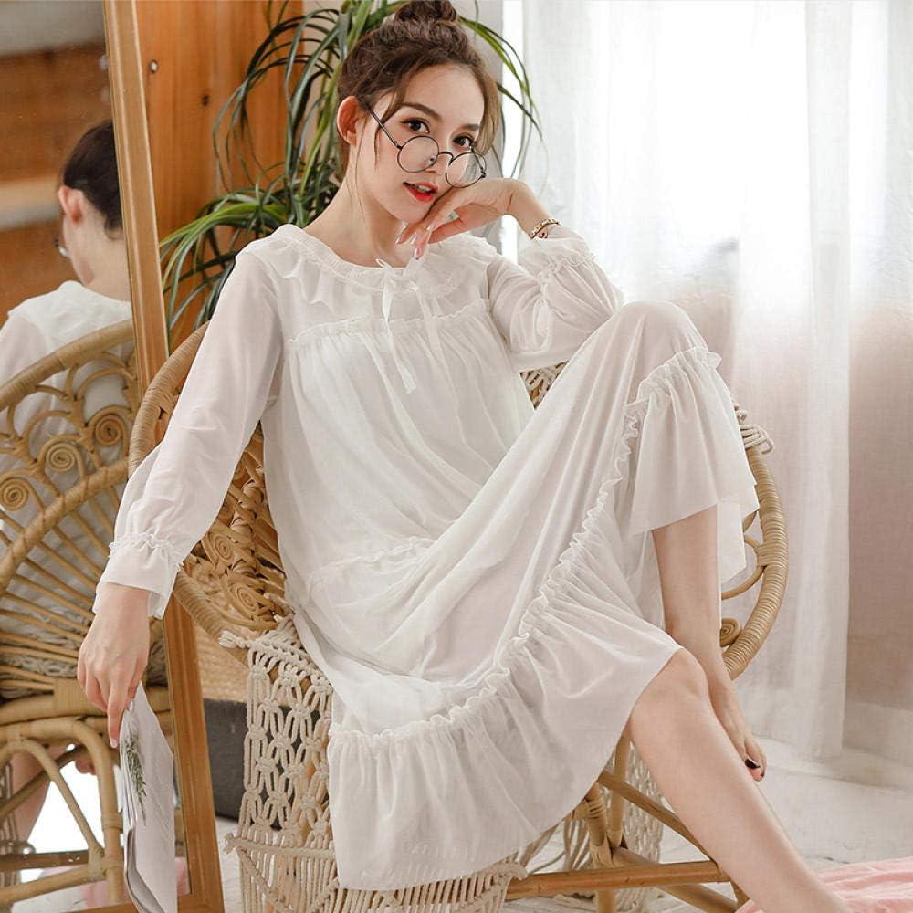Pijamas de algodón, Camisones de Primavera y otoño, Mangas largas, camisón Suelto de Encaje Estilo Princesa, camisón de Medio Cuerpo, Blanco_L: Amazon.es: Hogar