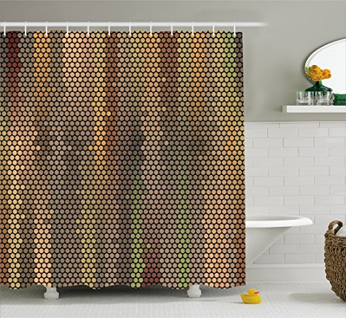 Ambesonne Earth Tones Shower Curtain, Party Entertainment Theme with Iconic Disco Ball Inspired Pattern Dotted Print, Cloth Fabric Bathroom Decor Set with Hooks, 70 Inches, Multicolor