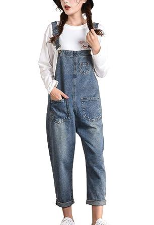 0700110fc7437 Flygo Women's Casual Adjustable Strap Distressed Denim Overalls (Medium,  Style 02 Blue)