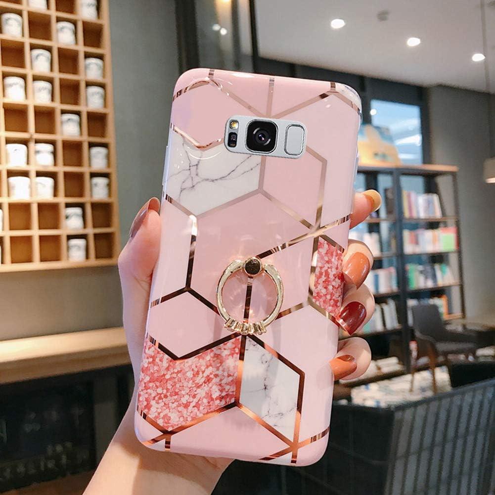 Uposao Coque pour Samsung Galaxy S8 Plus Coque Girly Case 3D Motif G/éom/étrique Marbre Design avec Support T/él/éphone Diamant Strass Coque Silicone Gel TPU Flex Soft Skin Etui pour Galaxy S8 Plus,#2
