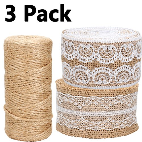 Floral Lace String (Jaciya Burlap 2 Pack 156 Inches Natural Burlap Ribbon Roll with White Lace with 1 Pack 300 Feet Natural Jute Twine String Roll for DIY Crafts and Decor)