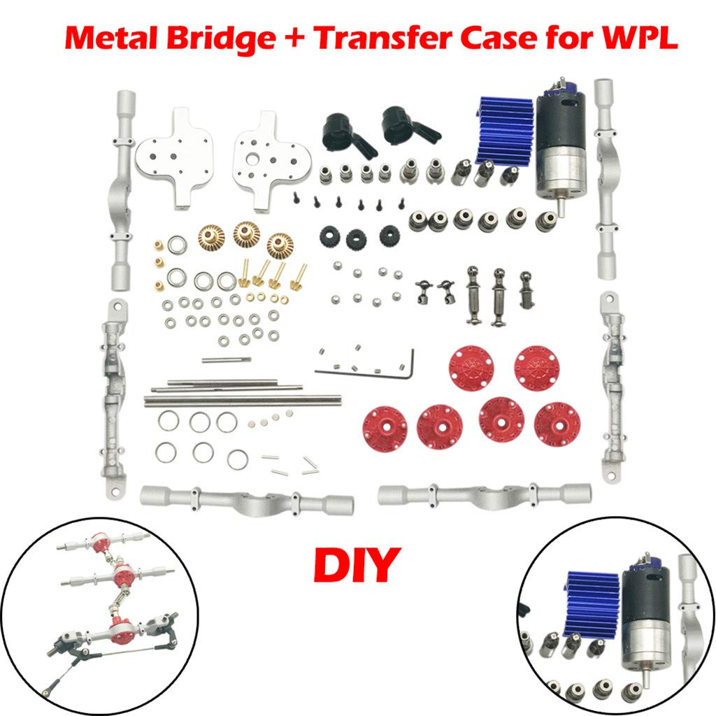 RC Truck DIY Kit - Metal Front & Middle Rear Bridge + Transfer Case Assembly Sets Fit for WPL C24 B14 B36 JJRC Q60 Q61 RC Car Truck (Silver, RC Car DIY Set) by Dacawin-RC Car (Image #1)