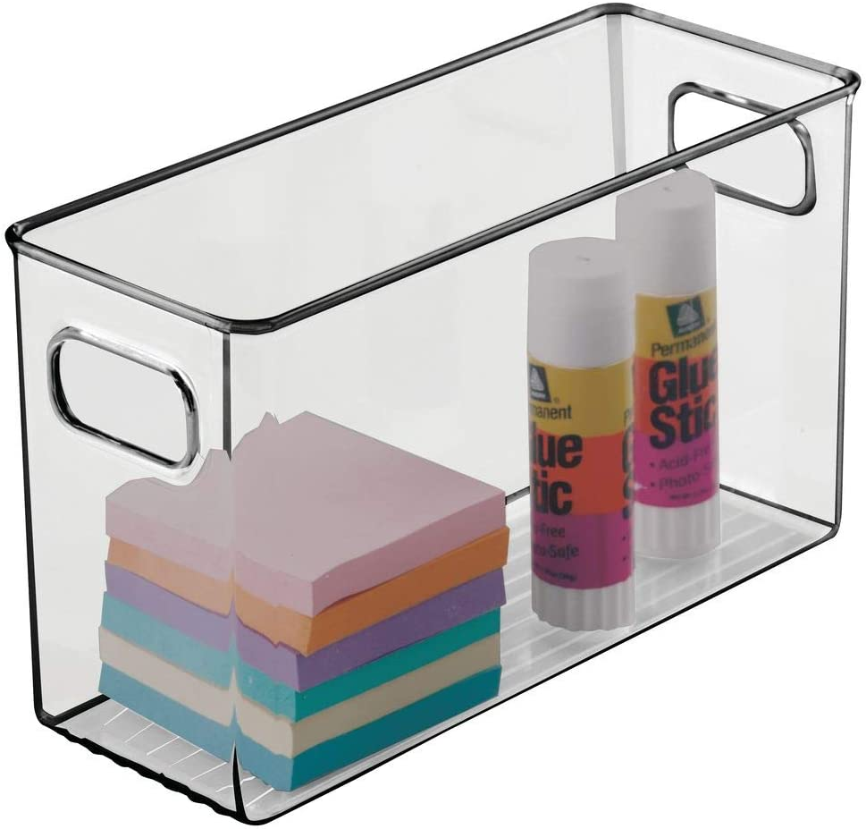"""mDesign Plastic Home, Office Storage Organizer Bin with Handles - Container for Cabinets, Drawers, Desks, Workspace - BPA Free - for Pens, Pencils, Highlighters - 4"""" Wide - Smoke Gray"""