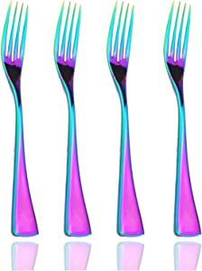 JASHII Dinner Forks,Set of 4 Top Food Grade Stainless Steel Silverware Forks,Table Forks,Flatware Forks, Mirror Finish & Dishwasher Safe (Rainbow)