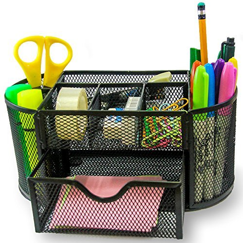 Summer Office Supply Caddy - Can Hold ALL Office Accessories. Features: Elegant 8 Compartments Black Mesh Desk Organizer With a Large Tray - Good For Home, Office, Kids, College & ()