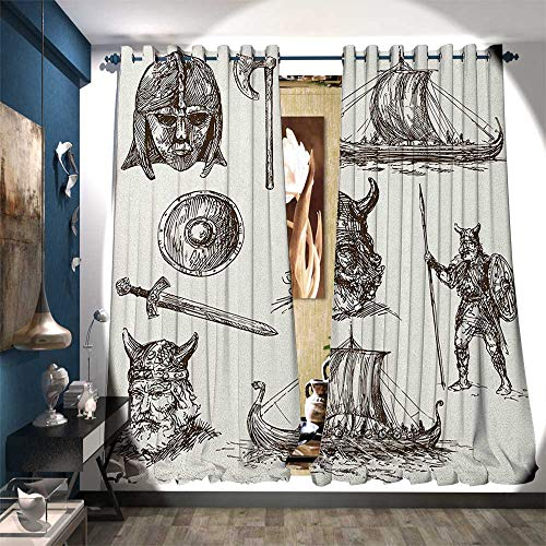 Price comparison product image Room Darkening Wide Curtains Ancient War Figures Sword Shield and Warriors Mask Dragon Head Ship Medieval Waterproof Window Curtain W108 x L96 Dark Brown White