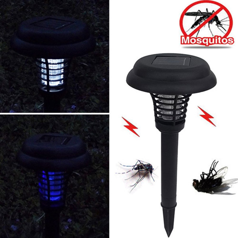 Ragdoll50 Solar Mosquito Insect Killer Lights, 1PC LED Solar Power Mosquito Killer Light Outdoor Garden Yard Lawn Decor Lamp, Garden Pest Control Bug Zapper Lamp(Black)