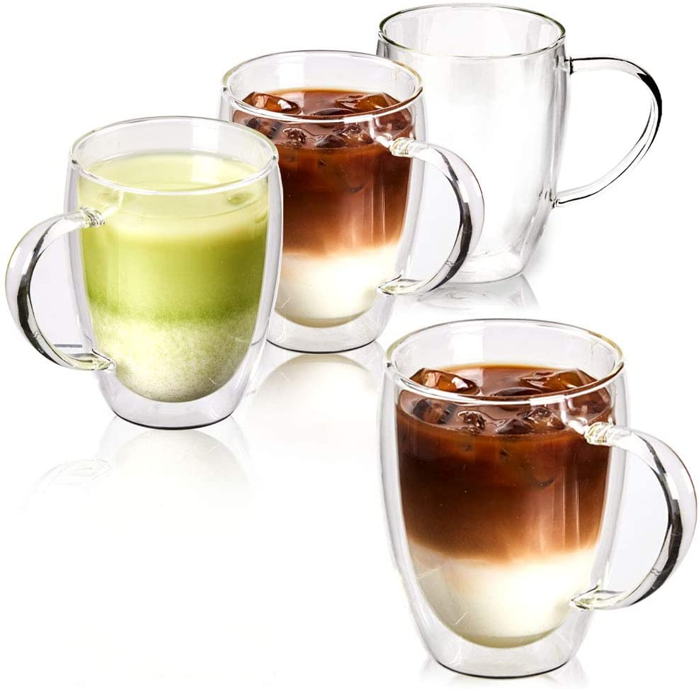 Coffee or Tea Glasses Set of 4 8oz Double Wall Thermal Insulated Cups with Handle