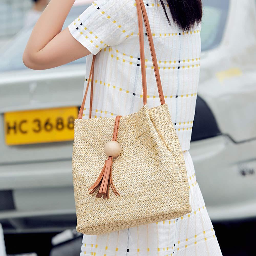 Women Casual One Shoulder Woven Handbags Tote Bucket Bags with Tassel Pendant