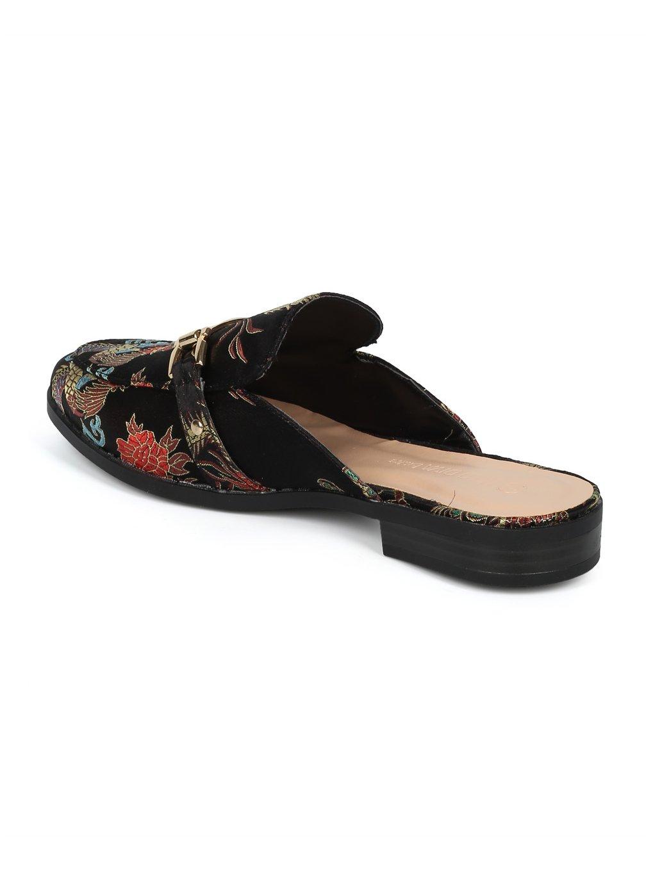 Alrisco Women Satin Brocade Phoenix Horsebit Loafer Slide HF84 - Black Satin (Size: 6.5) by Alrisco (Image #2)