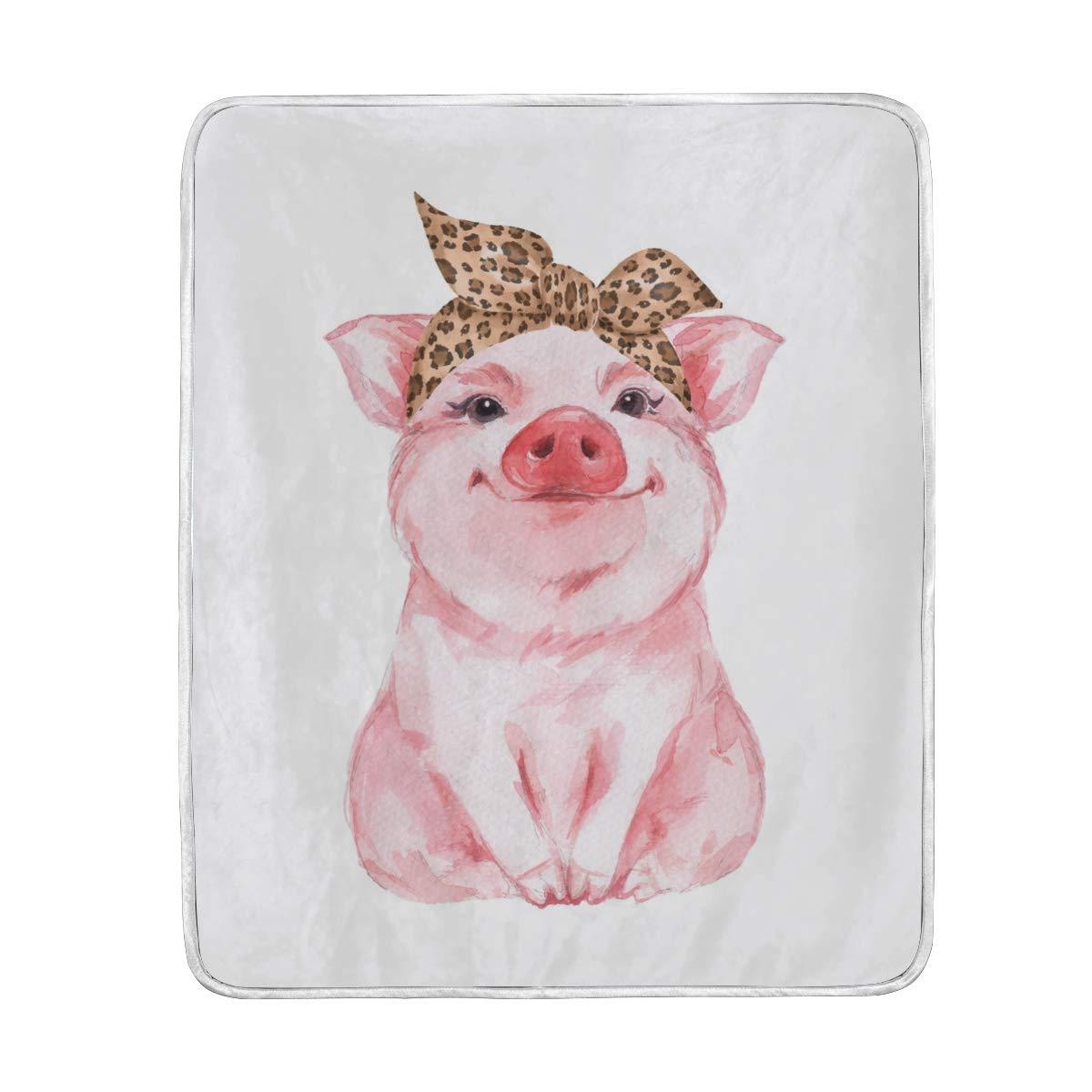Vantaso Blankets Cute Girl Pig Pink Throws Soft Blanket Kids Girls Boys Bedroom 50x60 inch by Vantaso