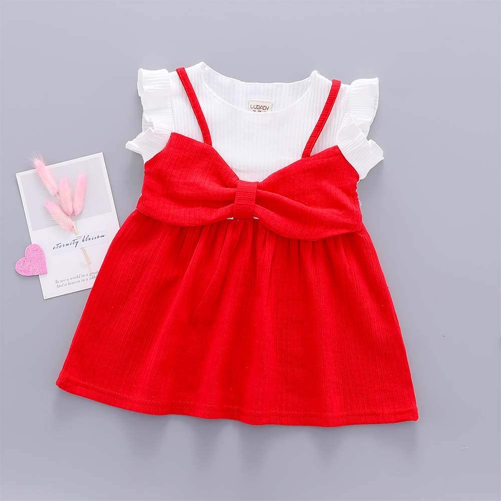 Guyay Toddler Baby Girl Summer Casual Dress Short Ruffle Sleeves Suspender Skirt with Bowknot Overall Dress Sundress