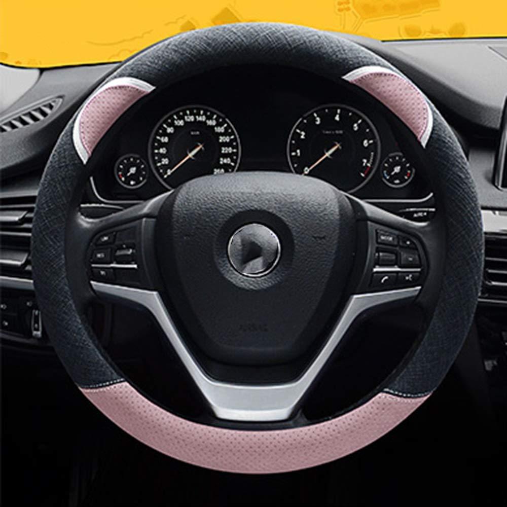 Color : Gray Steering Wheel Cover Leather Stitching Car Steering Wheel Cover Male Color Matching Cute Bear Ear Cartoon Handlebar Set Female MDYHJDHYQ