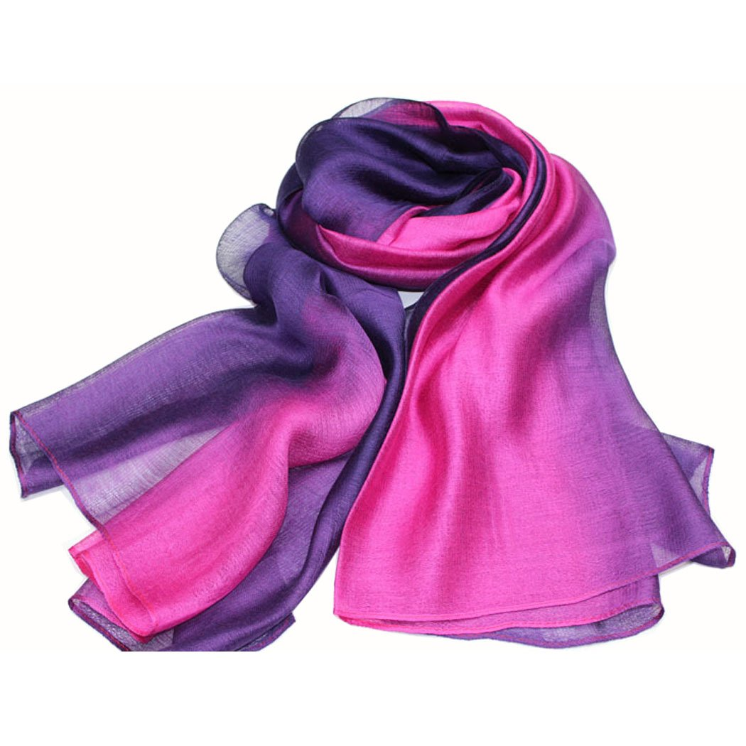 SNUG STAR Cotton Silk Scarf Elegant Soft Wraps Color Shade Scarves for Women (Rose red)