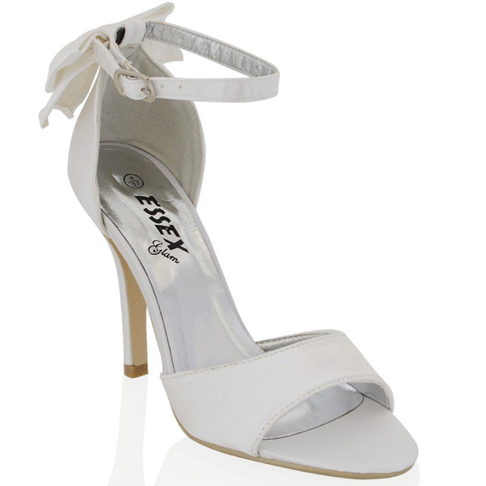ESSEX GLAM Womens Stiletto Ankle Strap Sandals Open Toe Bow Satin Bridal Shoes