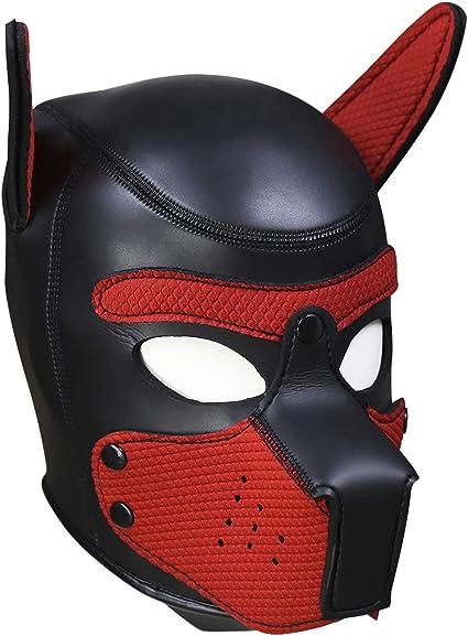 BDSM Adjustable Dog Mask Fetish Slave Restraint Full Cover Head Mask PU Leather