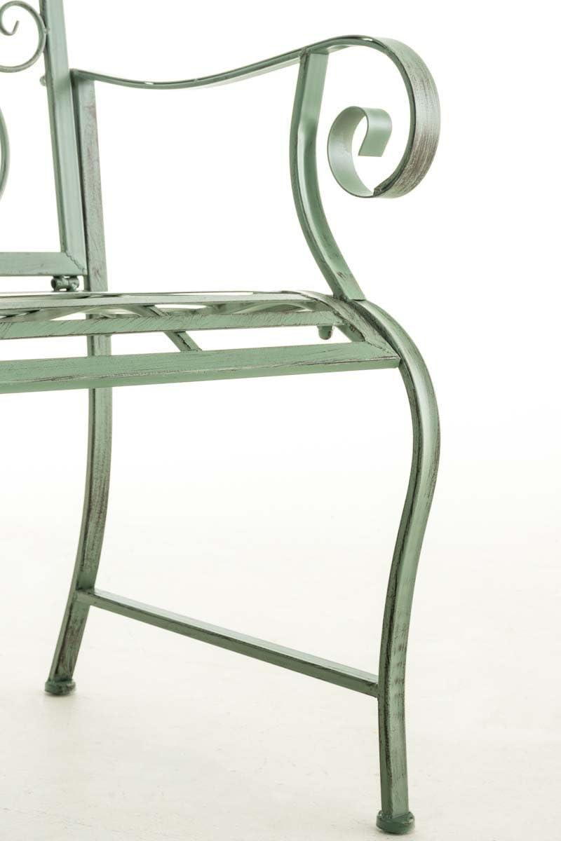 CLP Lackierter Eisen-Gartenstuhl Punjab mit Armlehne I Outdoor-Stuhl im Landhausstil I erh/ältlich Farbe:antik wei/ß