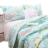 YOUSA Colorful Fishes Quilt Sets Cartoon Kids Quilted Bedspreads Cotton Comforter Bedding Sets
