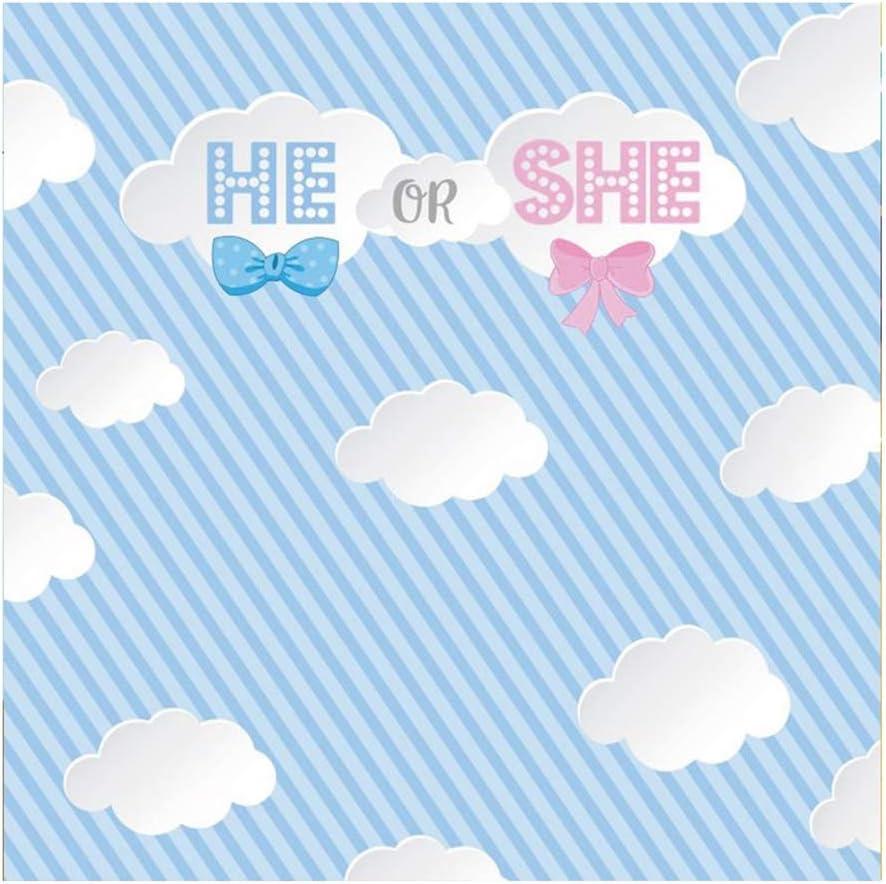Yeele 9x9ft Gender Reveal Party Photography Background Cartoon Blue and White Oblique Line Party Decoration Photo Portrait Vinyl Studio Video Shooting Photo Backdrop Wallpaper