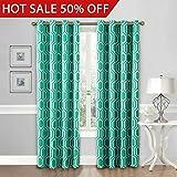 FlamingoP Curtains For Bedroom, Energy Efficient Moroccan Tile Quatrefoil Blackout Top Grommet Unlined Window Curtains, Set of Two Panels, each 96 by 52, Turquoise