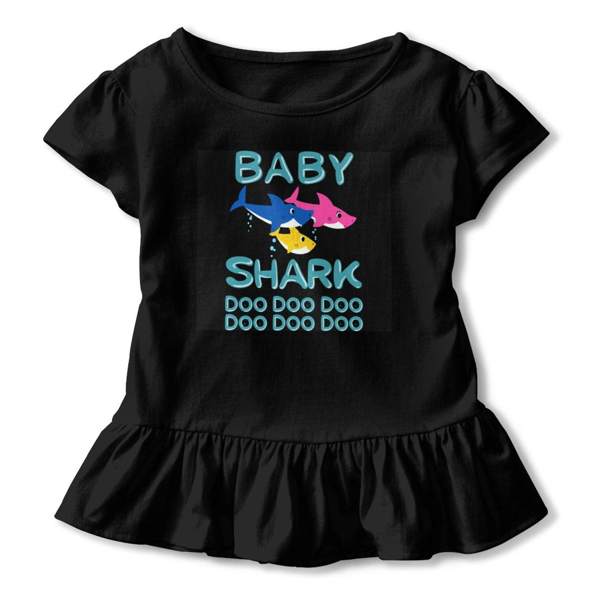 CZnuen Baby Shark Doo Doo Doo Baby Girls Basic Short Puff Sleeve Round Neck Ruffle T-Shirt
