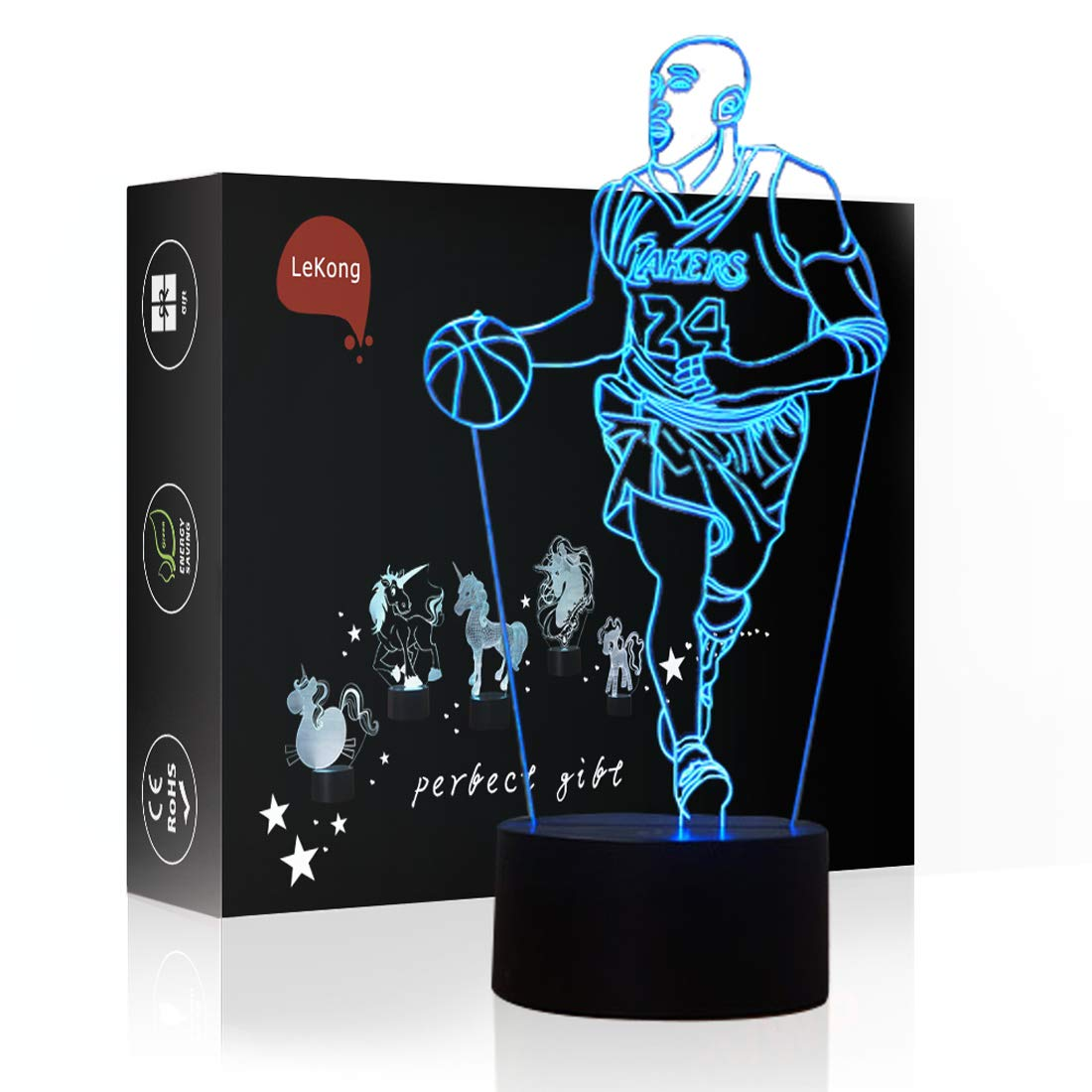 Sports Basketball LED Night Light for Kids 3D Illusion, LeKong USB Plug in, Touch Control, Gift for Christmas & Birthday, Fit for Halloween Decorations