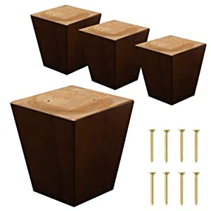 "ComfortStyle Legs for Furniture, Sofa Ottoman and Chair 4"" Wood Feet Replacement, Set of 4 Square Tapered Pyramid Feet (Walnut)"
