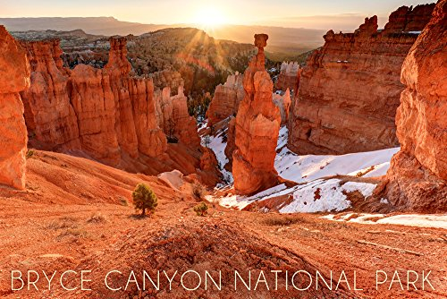 Bryce Canyon National Park, Utah - Thors Hammer Sunrise (12x18 SIGNED Print Master Art Print w/ Certificate of Authenticity - Wall Decor Travel Poster) (Utah Canyon Bryce)