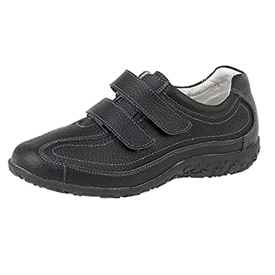 Womens Ladies Extra Wide EEE Fit Velcro Leather Casual Shoes Trainers Size  3 - 9  Amazon.co.uk  Shoes   Bags 75d0ecf06d1a