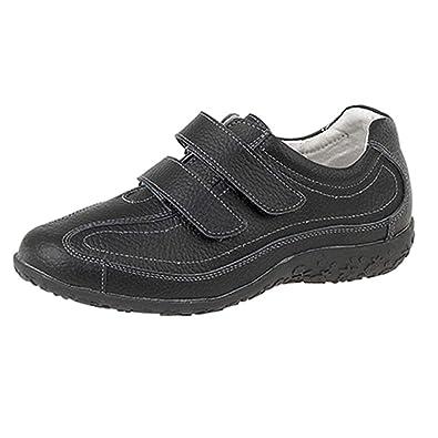 5ed4e6f88ff Boulevard Extra Large pour Femme Coupe décontractée EEE Chaussures en Cuir  à Velcro Taille 3–