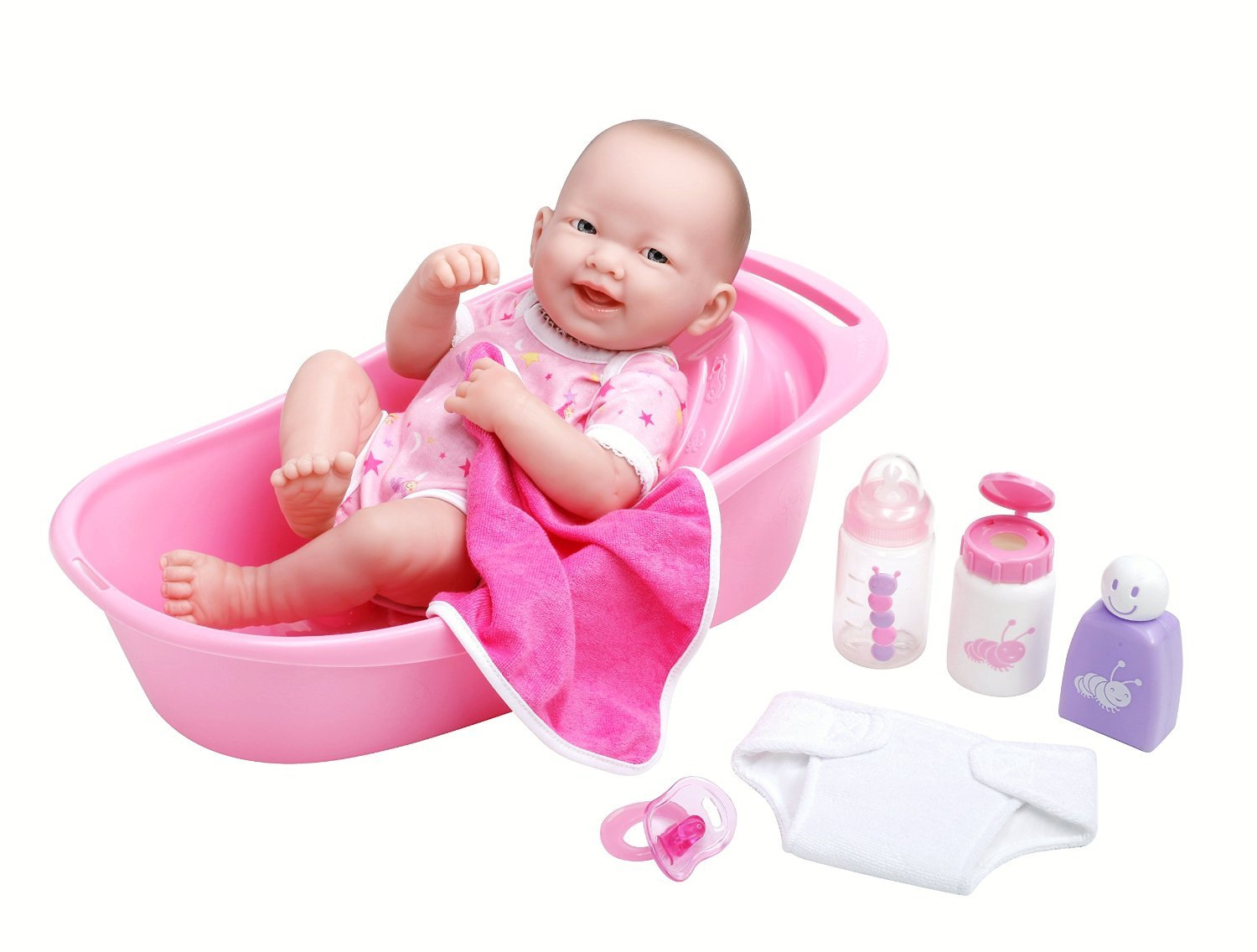 JC Toys LA NEWBORN 8 Piece Deluxe BATHTUB GIFT SET, featuring 14' Life-Like All Vinyl Smiling Baby Newborn Doll, Pink featuring 14 Life-Like All Vinyl Smiling Baby Newborn Doll JC Toys Group Inc. 18570