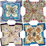 LilMents 4 Mixed Designs Large 35'' × 35'' Square Polyester Satin Neck Head Scarf Scarves Set (Set Y13)
