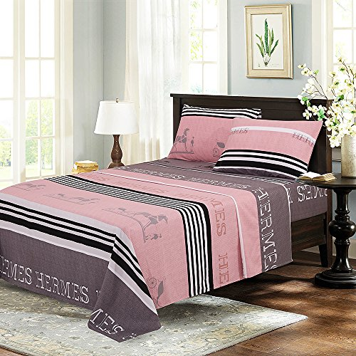 Bed Sheet Set 4-Piece,Brushed Microfiber 1500 Bedding.Extra Deep Pocket(18In), Fitted Sheet, Flat Sheet & 2 Pillowcase ( Gray stripes/ Full)