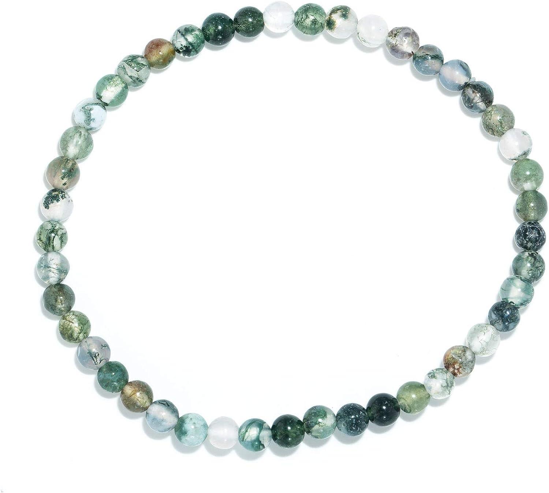 Taddart Minerals – Pulsera verde de piedra natural ágata musgo con bolas de 4 mm en hilo elástico de nailon – hecha a mano
