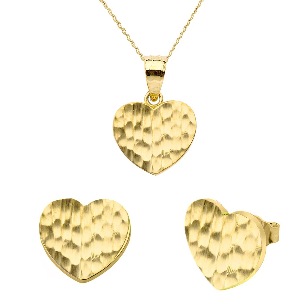 Fine 10k Yellow Gold Love Hammered Heart Charm Pendant Necklace and Earring Set, 18''