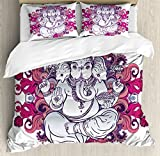 Elephant King Size Duvet Cover Set by Ambesonne, Elephant Figure over Floral Colorful Mandala Pattern Eastern Faith Symbol Print, Decorative 3 Piece Bedding Set with 2 Pillow Shams, Pink Grey