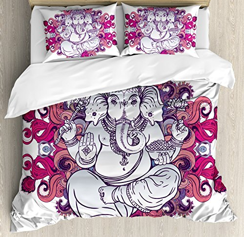 Elephant King Size Duvet Cover Set by Ambesonne, Elephant Figure over Floral Colorful Mandala Pattern Eastern Faith Symbol Print, Decorative 3 Piece Bedding Set with 2 Pillow Shams, Pink Grey by Ambesonne