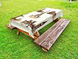 Ambesonne Ancient Outdoor Tablecloth, European Landmark Traveller Tourist Cities Italy France Spain Sketchy Image, Decorative Washable Picnic Table Cloth, 58 X 104 Inches, Brown and Cream