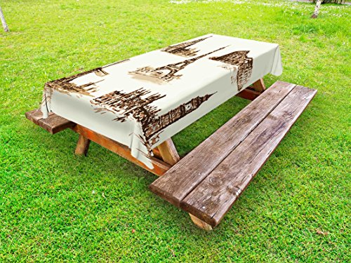 Ambesonne Ancient Outdoor Tablecloth, European Landmark Traveller Tourist Cities Italy France Spain Sketchy Image, Decorative Washable Picnic Table Cloth, 58 X 104 Inches, Brown and Cream by Ambesonne