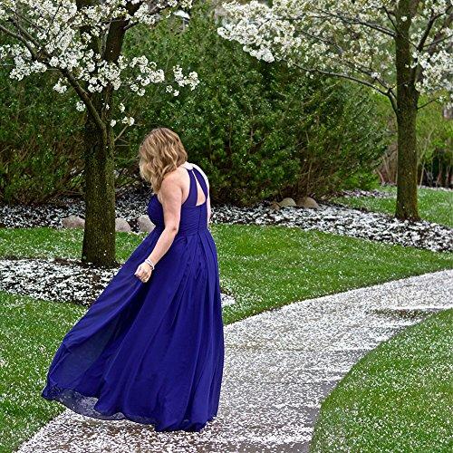 Cdress Des Femmes De Plis Licol Robes De Demoiselle D'honneur En Mousseline De Soie Longue Taille Plus Orchidée Robe De Bal