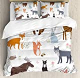 Our Wings Cabin Comforter Set,Cute Animals in Spring Meadow Childish Woodland Fauna Kids Baby Room Nursery Bedding Duvet Cover Sets Boys Girls Bedroom,Zipper Closure,4 Piece,Multicolor Twin Size