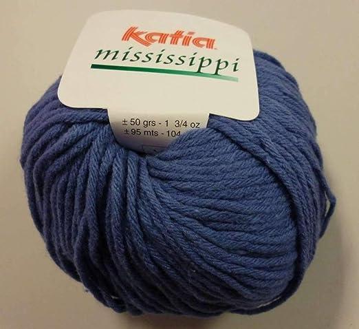 Katia Mississippi algodón/acrílico ovillo de lana, 50 g, color azul: Amazon.es: Hogar