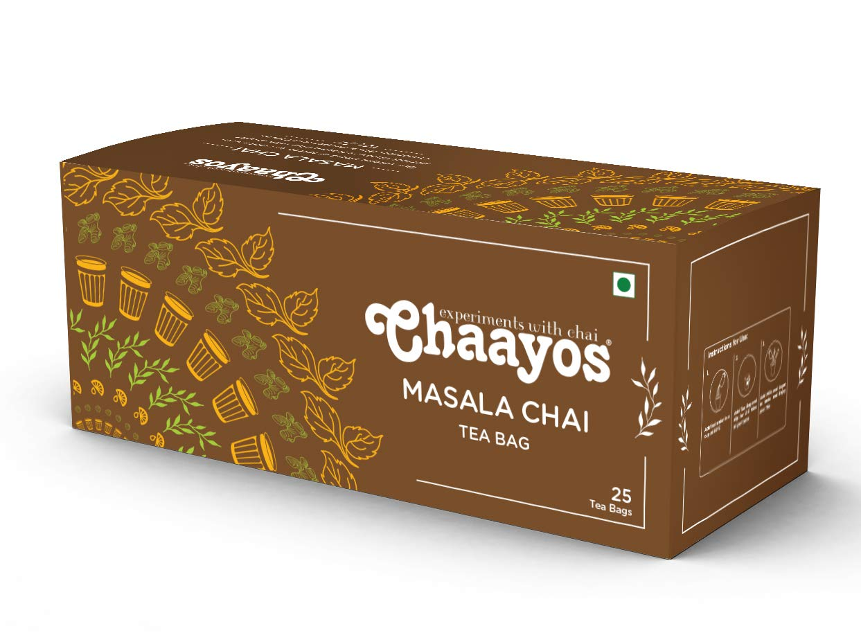 Chaayos Tea Bags - Masala Chai with 100% Natural Spices - [25 Tea Bags]