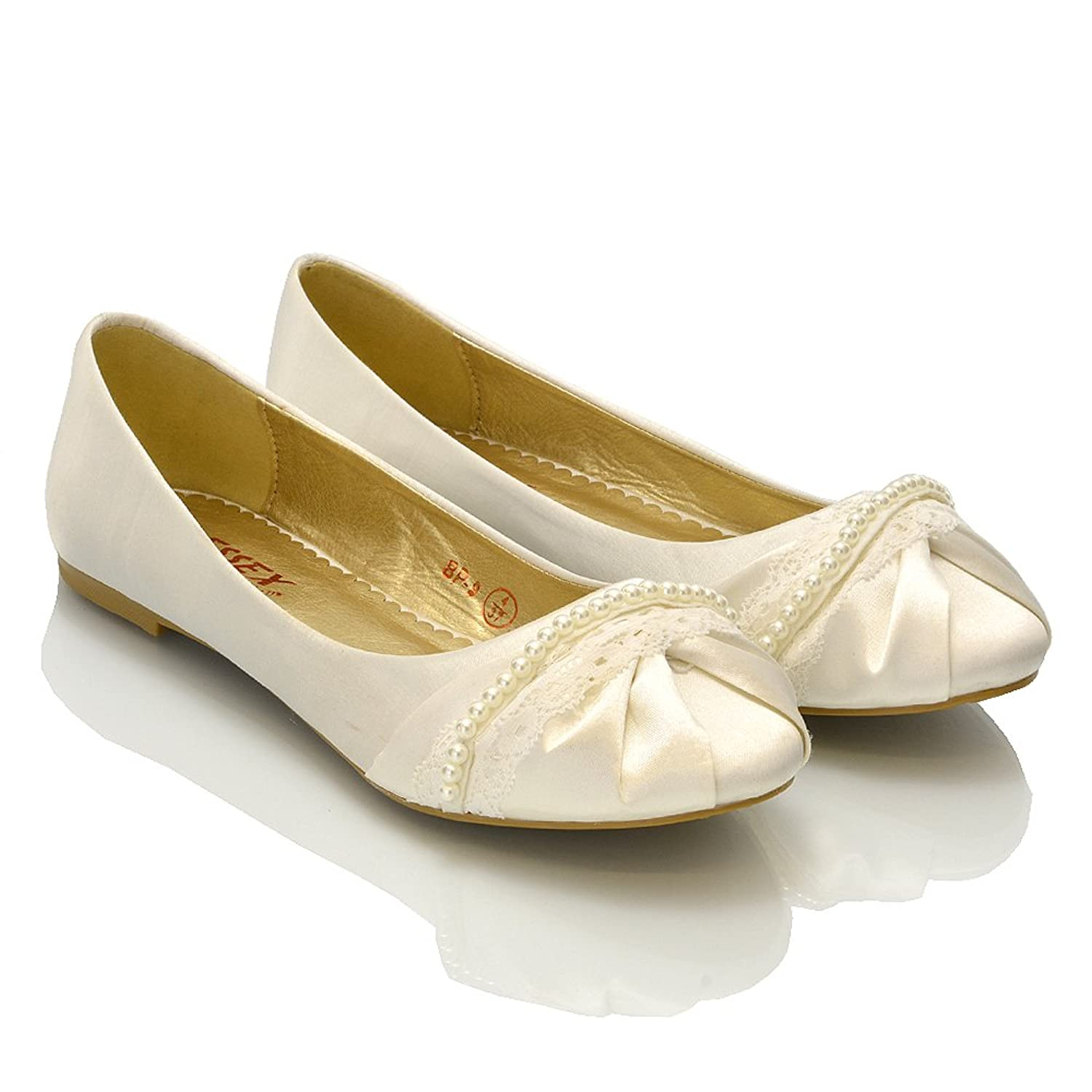 Essex Glam - Damen Ballerinas Mit Perlen & Spitze - Satin, 8 UK / 41 EU / 10 US, Weiß Satin